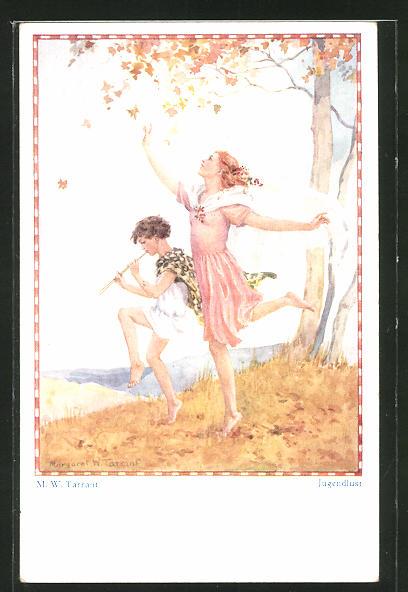 Künstler-AK sign. M. W. Tarrant: Jugendlust, Knabe mit Flöte und tanzendes Mädchen
