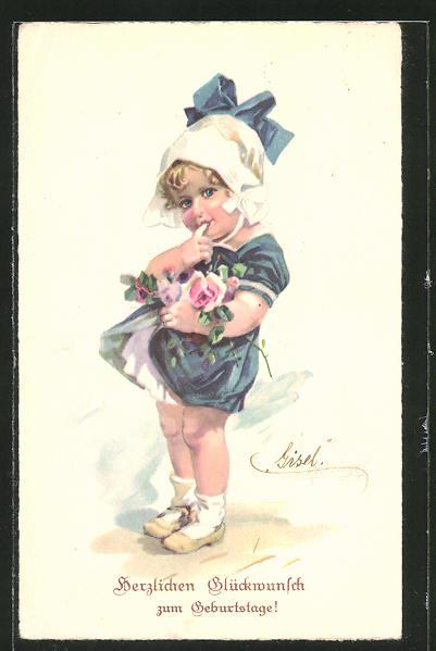 Künstler-AK E. Reckziegel: Glückwunsch zum Geburtstage!, kleine Gratulantin mit Blumen