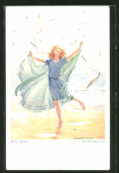 Künstler-AK sign. M. W. Tarrant: Der Wünsche Flug, Kind und Möwen