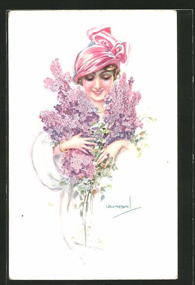 Künstler-AK Luis Usabal: Dame mit Hut und Flieder
