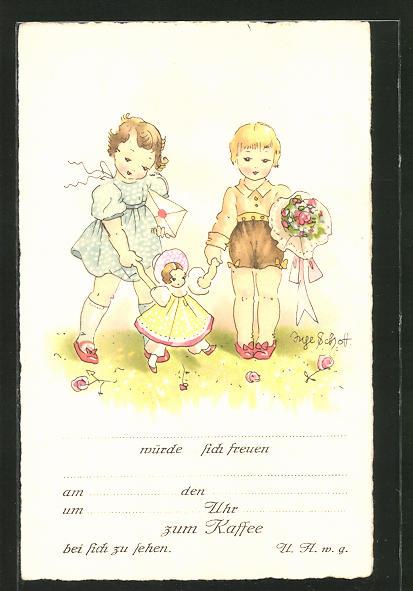 Künstler-AK Inge Schott: Einladung, Kinder mit Puppe