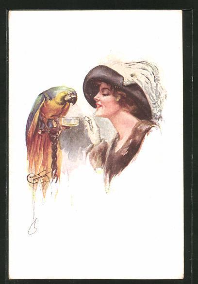 Künstler-AK Court Barber: Dame und Papagei