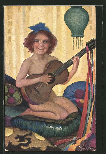 Künstler-AK St. Bender: nacktes Mädchen mit Gitarre