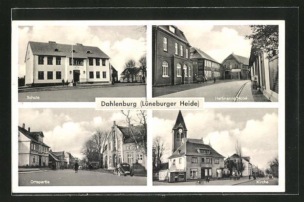AK Dahlenburg, Schule, Heltmanns Hotel, Ortspartie, Kirche 0