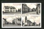 AK Dahlenburg, Schule, Heltmanns Hotel, Ortspartie, Kirche