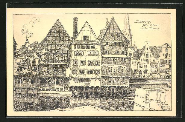 Künstler-AK Lüneburg, Alte Häuser an der Ilmenau