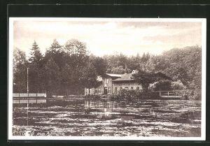 AK Aumühle, Flusspartie mit Haus am Fluss