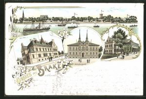 Lithographie Brake, Post-Amt, Schützenhaus, Amtsgericht