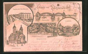 Lithographie Düsseldorf, Hauptpostamt-Haroldstrasse, Rheinbrücke, Kunsthalle, Jesuitenkirche, Kunsthalle