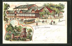 Lithographie Duisburg, Strassenbahn am Gasthaus Monning, Aussichtsturm auf dem Kaiserberg