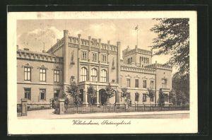 AK Wilhelmshaven, Strassenpartie am Stationsgebäude