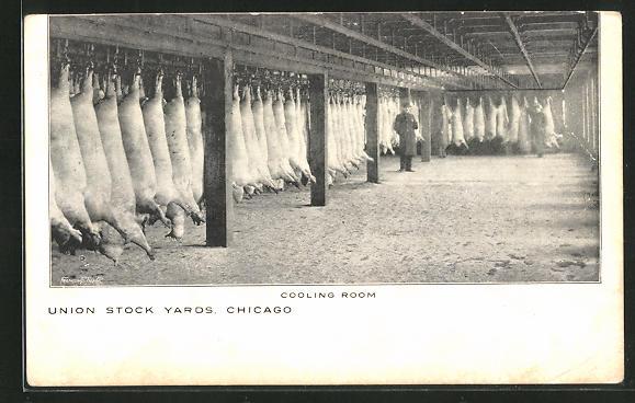 AK Chicago, IL, Union Stock Yards, Cooling Room, Kühlraum der Fleischerei