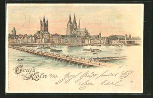 Lithographie Köln a/Rh, Panorama gegen den Dom, Halt gegen das Licht
