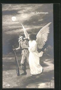Künstler-AK Der Schutzengel, verwundeter Soldat