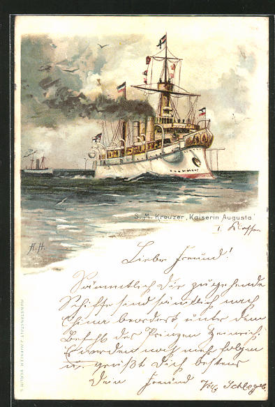Künstler-Lithographie A. Heide: Kreuzer Kaiserin Augusta, Ostasiengeschwader