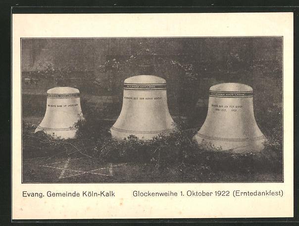 AK Köln-Kalk, Glockenweihe 1922, Ev. Gemeinde, Erntedankfest