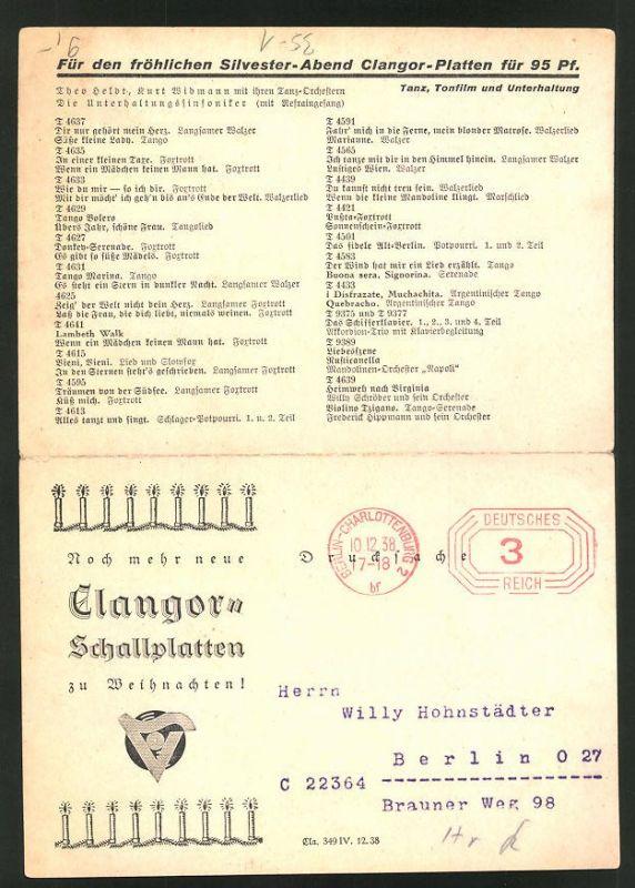 Klapp-AK Clangor-Schallplatten zu Weihnachten!