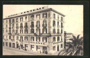 AK San Remo, Hotel Centrale, alla Posta ed alla Stazione