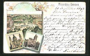 Lithographie Ricordo di GenovaLacquasola, Chiesa S.M. Di Carignano, Catt. e S. Lorenzo