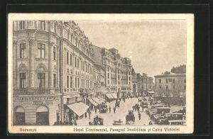 AK Bucuresti / Bukarest, Hotel Continental, Pasagiul Imobiliara si Calea Victoriei