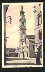 AK Belluno, Il Duomo cretto al principio del XVI sec. su disegno di Tullio Lombardo, Di fianco il Campanile alto