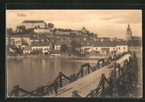 AK Pettau, Blick von der Brücke auf die Stadt