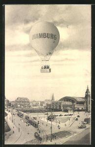 AK Hamburg, Fessel-Ballon über dem Hauptbahnhof