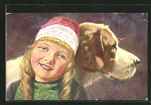 Künstler-AK Johan Georg Gerstenhauer: Mädchen mit Mütze lehnt an ihren Hund
