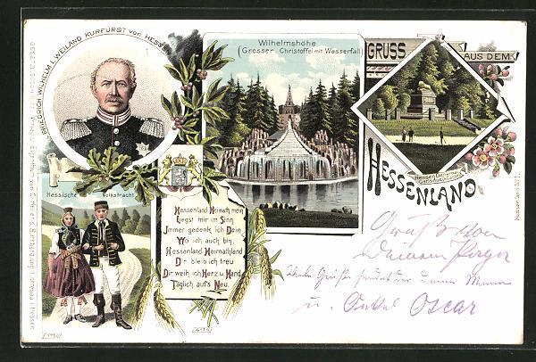 Lithographie Friedrich Wilhelm I. Weiland Kurfürst von Hessen-Darmstadt, Wilhelmshöhe, Hessen Denkmal, Hess. Volkstracht