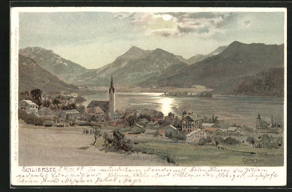 Künstler-Lithographie Edward Theodore Compton: Schliersee, Panorama