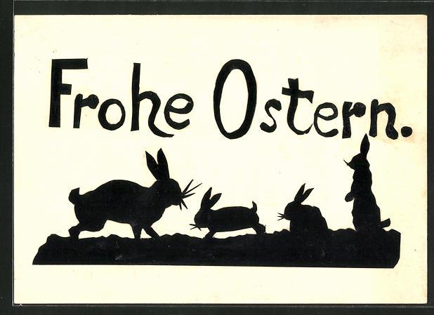 AK Frohe Ostern, Scherenschnitt, Osterhasen