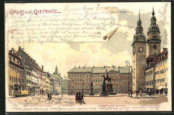 Künstler-AK Erwin Spindler: Chemnitz, Hotel Roemischer Kaiser, Markt, Kaiser Wilhelm-Denkmal, altes Rathaus