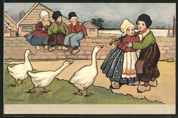 Künstler-AK Ethel Parkinson: niederländisches Mädchen läuft vor Gänsen davon