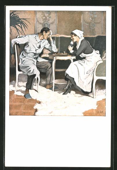 Künstler-AK Brynolf Wennerberg: Schwester und Patient beim Schach