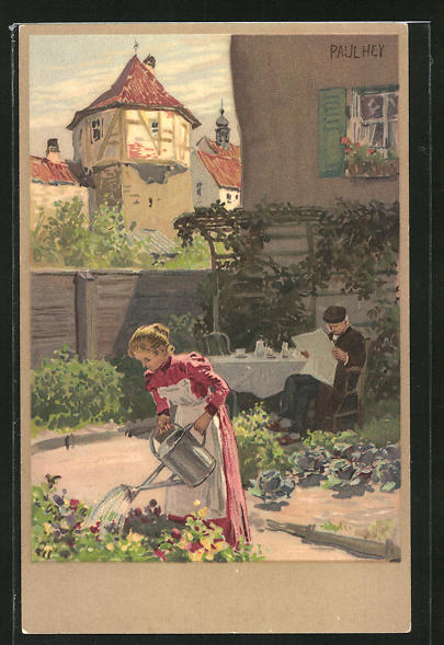 Künstler-Lithographie Paul Hey: Frau bei der Gartenarbeit, Alter Mann am Frühstückstisch