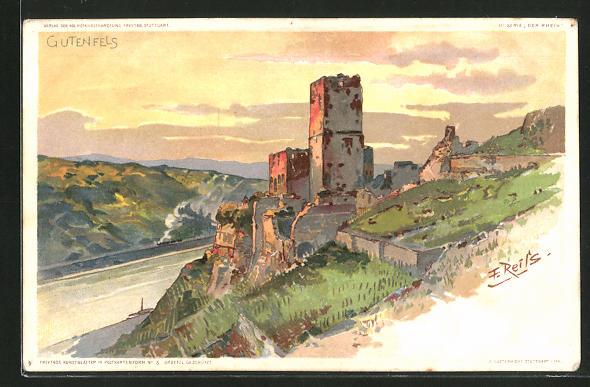 Künstler-AK Fritz Reiss: An der Burg Gutenfels