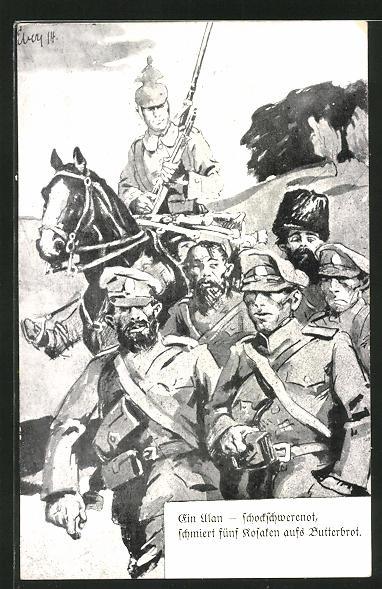 AK Propaganda 1. Weltkrieg, Ulan fürhrt russische Kosaren ab