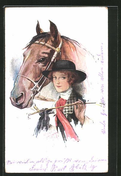 Künstler-AK Court Barber: Junge Frau mit Pferd