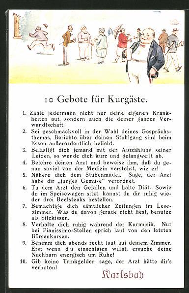 AK Karlsbad, 10 Gebote für Kurgäste, Scherz