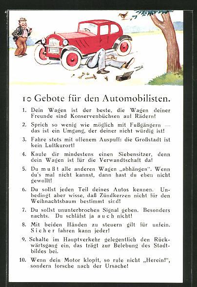 AK 10 Gebote für Automobilisten, Scherz