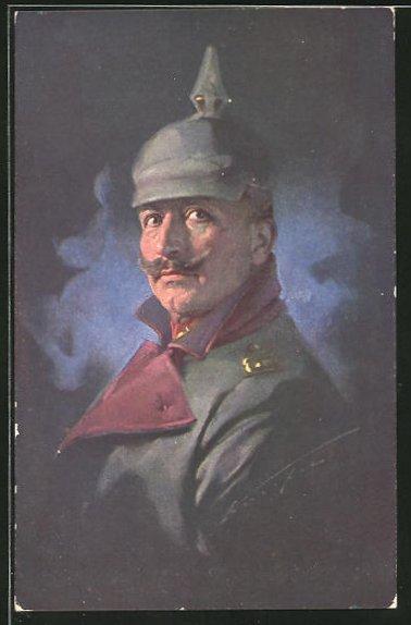 Künstler-AK Ludwig Knoefel: Kaiser Wilhelm II. in Feldgrau mit Pickelhaube