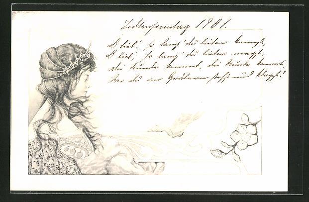 Künstler-AK Schöne Dame mit Diadem, Jugendstil