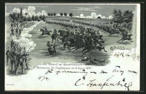 Mondschein-Lithographie Todesritt der Kavalleriedivision de Bonnemains bei Elsasshausen am 6.8.1870
