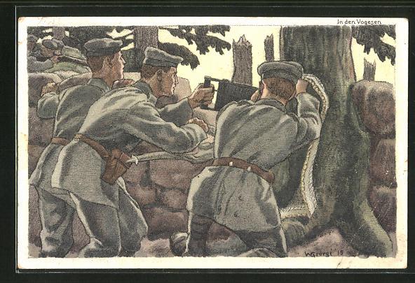 Künstler-AK Walter Georgi: Soldaten auf Posten in den Vogesen