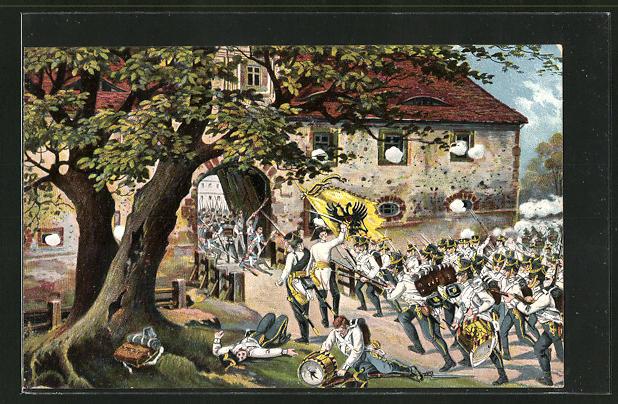 AK Gefecht bei Connewitz, österreichische Infanterie stürmt Schloss Dülltz am 16. Oktober, Befreiungskriege