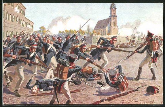 Künstler-AK O. Merte: Erstürmung des Grimmaischen Tores am 19. Oktober 1813
