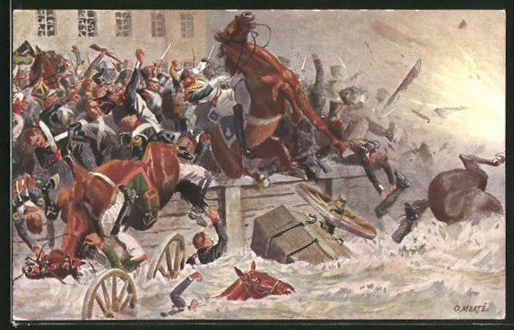 Künstler-AK O. Merte: Sprengung der Elsterbrücke am 19. Oktober 1813