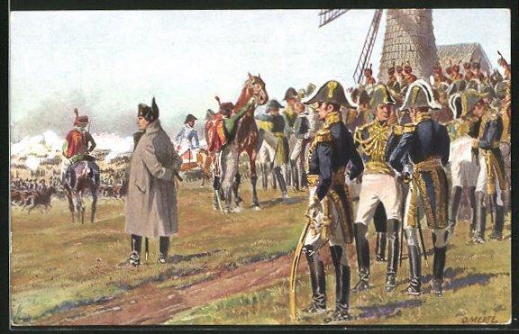 Künstler-AK O. Merte: Napoleon auf dem Thonberge am 18. Oktober 1813