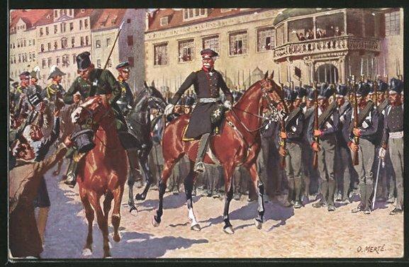 Künstler-AK O. Merte: Blüchers Einzug auf den Marktplatz von Leipzig am 19. Oktober 1813