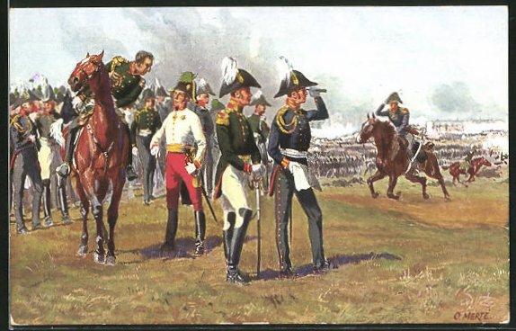 Künstler-AK O. Merte: Die drei Fürsten auf dem Monarchenhügel am 16. Oktober 1813